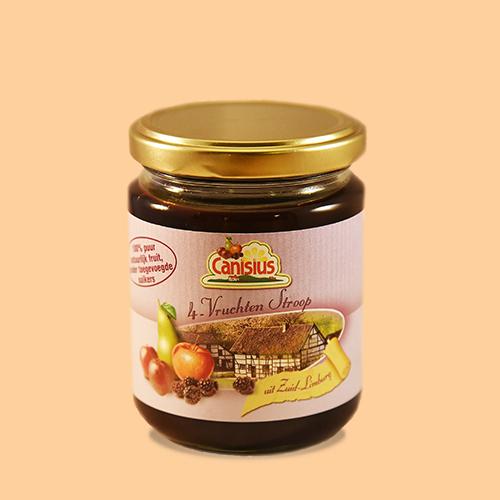 4 Vruchtenstroop in glazen pot, 300 gr.