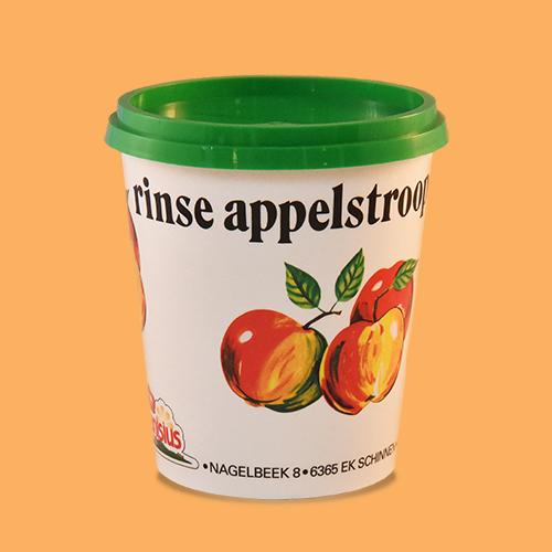 Rinse appelstroop in reclamebeker, 450 gr., 350 gr. en 250 gr.