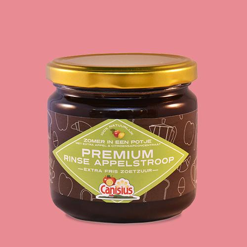 Premium pure rinse appelstroop met citroensap concentraat in glazen pot, 450 gr.