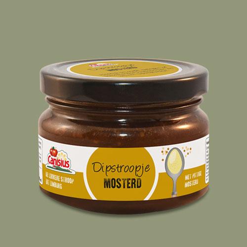 Dipstroopje Mosterd, 45 ml. en 170ml.